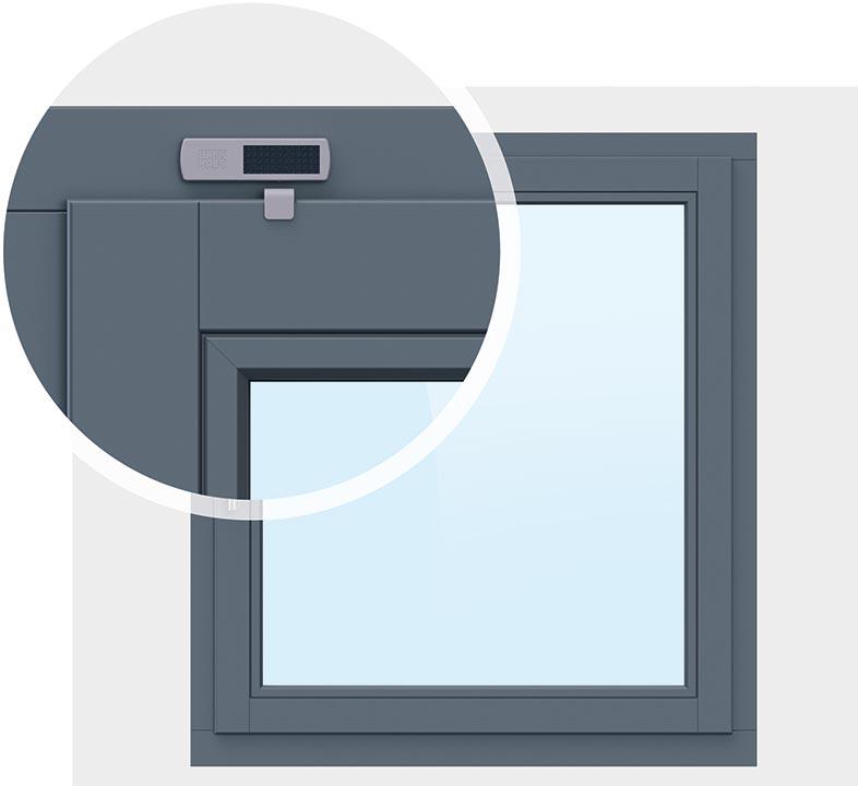 Energieautark durch Solarzelle: Smarter Fensterkontakt von Winkhaus in der Variante 1. (Bild: Winkhaus)